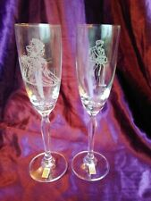 Lednicke Rovne Crystal BRIDE & GROOM Champagne Glasses 9""