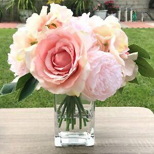 Artificial Peony Rose Hydrangea Faux Water Flower Arrangement Glass Vase Decor