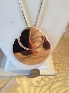 "NWOT SAMPLE TRINA TURK  flowered gold tone  LARGE DISK NECKLACE 32"" necklace T37"