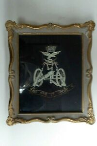 WW1 EARLY EMBROIDERED CLOTH BADGE PRO ARIS ET FOCIS FRAMED MILITARY PATCH EMBLEM