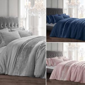 Orleans Diamante Sparkly Crushed Velvet Duvet Cover & Pillowcase Set Navy Pink