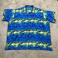 Rima Short Sleeve Button Down Front Hawaiian Shirt Caribbean Size 3XL