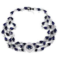 GENUINE BLUE SAPPHIRE & WHITE CZ STERLING 925 SILVER BRACELET LENGHT 8.75 INCH.