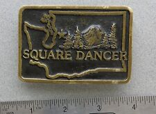 30th Annual Square Dance Convention Seattle 1981 Brass Belt Buckle  Anacortes