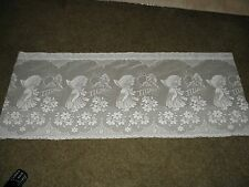 "Off-white Sheer VALANCE curtain MATERIAL  42"" x 17"" girl in garden. Needs sewing"