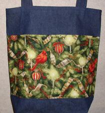 NEW Handmade Large Christmas Tree Cardinal Music Holiday Denim Tote Bag