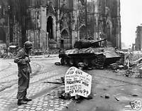B&W Photo Cologne Panther Warning Sign WWII WW2 Panzer World War Two Germany