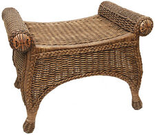 Monte Carlo Cane/Wicker/Rattan Footstool - Antique Brown