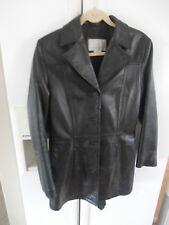 euc long black 100% leather modern Nine west classic jacket coat lined m,
