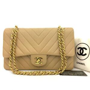 CHANEL Double Flap 25 Beige V Stitch CC Logo Lambskin Chain Shoulder Bag /70676