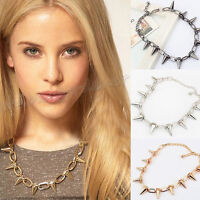 1Pcs Fashion Gothic Punk Rock Spike Cone Stud Rivet Chain Collar Charms Necklace