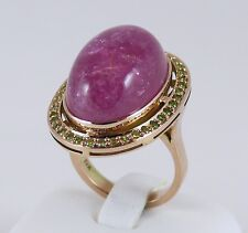 14K Rose Gold, Large Pink Tourmaline and Russian Demantoids Ring, Handmade