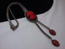 Vintage Silver Selro Selini Red Cameo Black Slide Lariat Necklace