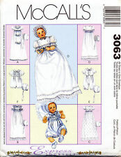 MCCALL'S SEWING PATTERN 6221/3063 BABY NB-L CHRISTENING GOWN/DRESS TUXEDO/ROMPER