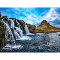 Kirkjufellsfoss Waterfall Kirkjufell Iceland Large Canvas Wall Art Print