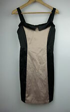 REVIVAL Pencil/wiggle dress Sz 8 1950s inspired Black taupe colorblock