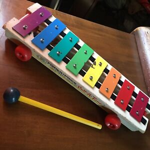 Vtg 1973 Fisher Price Pull-A-Tune Toy Xylophone 870 w/ Mallet Tool VGC No String