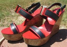 Tory Burch high heels wedges shoes Size 9.5, 10  RED blue gold LEATHER DEAL NEW