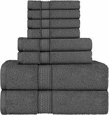 Towel Set Ultra Soft Cotton Absorbent Towels Bath Hand & Washcloths Spa (8 Pack)