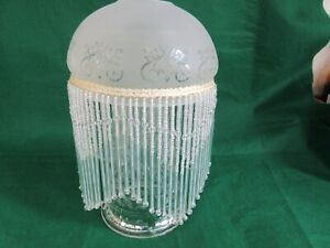 SMALL GLASS LAMP SHADE WITH BEADS & GLASS DROPLETS - NEW