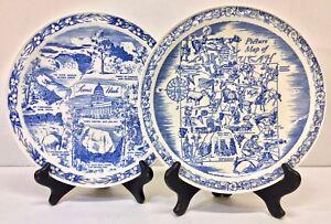 Pair of Vernon Kilns Utah-themed Blue Transferware Collector Plates, c. 1950s