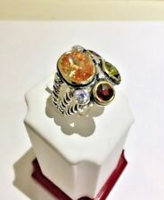 Multi Color, Multi Stone Silver Ring, Size 7