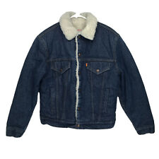Mens Sz 40 Levis USA Made Vintage Denim Sherpa Jacket Trucker Orange Tab WPL 423