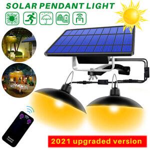 LED Solar Panel Powered Pendant Hanging Light Lamp Garden Shed Yard Lighting