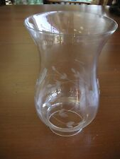 Vintage Princess House Glass Etched Oil Kersoene Candle Chimney VG Base 2 1/8""