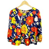 J. Crew Women's Size 4 100% Silk Vintage Floral Blouse Baltic Sea Blue Orange