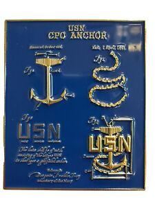 US Navy Chief Petty Officer Blue Print Challenge Coin CPO SCPO MCPO 1893
