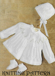 """Baby matinee coat and bonnet vintage KNITTING PATTERN 17"""" - 19"""" 4 ply 189"""