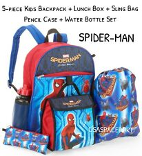 5-pc SPIDER-MAN Movie BACKPACK +Lunch Kit+Sling Bag +Pencil Case SET School Book