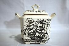 Masons Ironstone American Marine Black  Lidded Sugar Bowl Handle Repair RARE