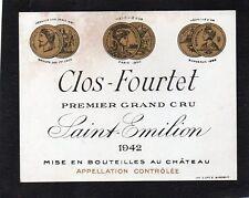SAINT EMILION 1ER GCC VIEILLE ETIQUETTE CHATEAU FOURTET 1942  RARE §06/09/17§