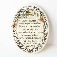 """Vintage Trinity Pottery Hanging Plaque Our Family 7"""""""