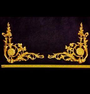 PAIR DECORATIVE MOULDING ANTIQUE LOUIS XVI GOLD GILT OR WHITE CORNER DECORATION