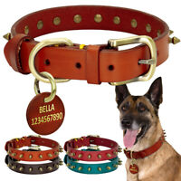 Personalized Dog Collar Studded Leather Large Dog Collar with Custom Name ID Tag