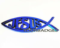 NEW ABS plastic JESUS Christian Fish Car Badge Electric Blue colour