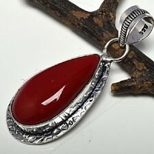 Fashion red coral fossil stone pendant & silver 925 necklace ! Gift & Jewelry