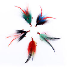30Pcs Fishing Treble Hooks 2# Dressed Replacement Teaser Feather PIKE BASS