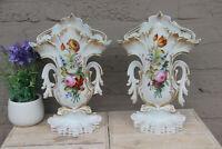 PAIR antique vieux paris hand paint floral porcelain vases 19th c