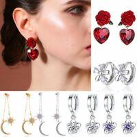Fashion Flower Crystal Rhinestone Silver Earrings Ear Stud Hoop Dangle Women Hot