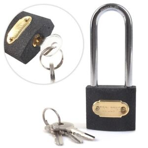 LONG SHACKLE PADLOCK Heavy Duty Cast Iron 38mm Outdoor Safety Security Lock UK