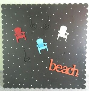 """16"""" x 16"""" Black Magnetic Board w/White Dots PLUS 7 Beach Themed Magnets - Chairs"""