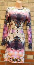 TOPSHOP TALL MIRROR BLOOM FLORAL MULTI COLOUR LONG SLEEVE BODYCON DRESS 8 S