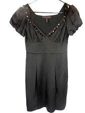 BCBG MAXAZRIA Women's Black Dress W/Brown Stitching and Black Jewels Sz 2 *5295