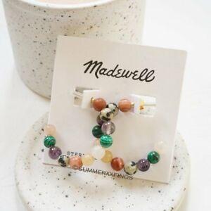 Madewell Semiprecious Stone Beaded Hoop Earrings