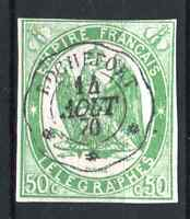 "FRANCE TELEGRAPH STAMP YVERT 2 "" 50c GREEN IMPERF 1868 "" USED VF SIGNED  R076"