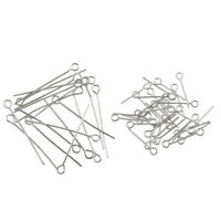Wholesale 100pcs Stainless Steel Eye Pins Jewelry Making Findings 17mm/30mm
